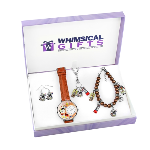 Whimsical Gifts Artist Silver 4-piece Watch-Bracelet-Necklace-Earrings Jewelry Set