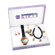 Whimsical Gifts Music Lover Gold 4-piece Watch-Bracelet-Necklace-Earrings Jewelry Set