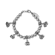 Faith Hope Love Joy Wisdom Charm Bracelet in Silver
