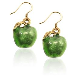 Green Apple Charm Earrings in Gold