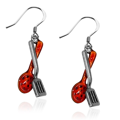 Cooking Utensils Charm Earrings in Silver