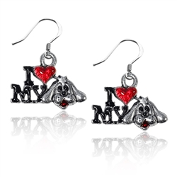 I Love My Dog Charm Earrings in Silver