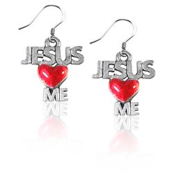 Jesus Loves Me Charm Earrings in Silver
