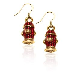 Fire Hydrant Charm Earrings in Gold