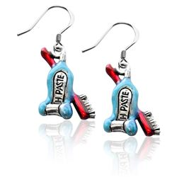 Whimsical Gifts Tooth Paste with Brush Charm Earrings in Silver