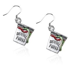 Whimsical Gifts Dental Floss Charm Earrings in Silver