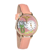 Nurse 2 Pink Watch in Gold (Large)