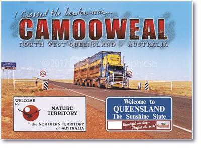 I Crossed the Border near...Camooweal North West Queensland - Large Magnets  CAMLM-004
