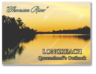 Longreach Thomson River Sunset - Small Magnets  LONM-218