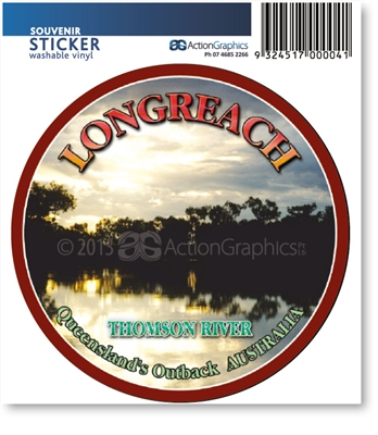 Longreach Thomson River  - DISCOUNTED Round Sticker  LONS-069