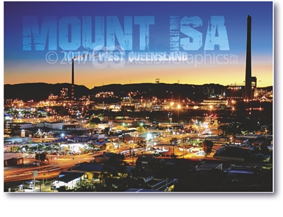 At Night Mount Isa - Standard Postcard  MTI-012