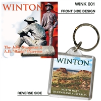 Winton Jolly Swagman - 40mm x 40mm Keyring  WINK-001