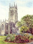 Cathedral Main Tower - Greeting Card by Peggy Merrel