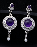 Amethyst Halo Earrings