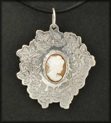 Vicky Cameo Pendant (White on Brown)