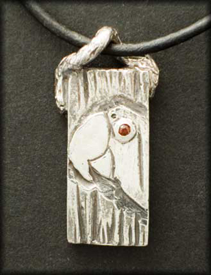 Macaw Pendant (with Garnet)