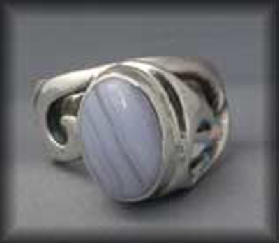 Curvaceous Ring (with Blue Lace Agate)