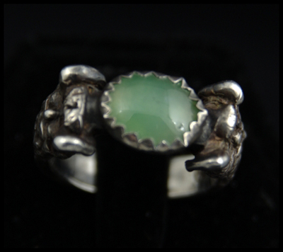 Green Man Ring (with Chrysoprase)