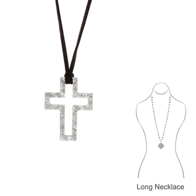 14456 HAMMERED SMALL OPEN CROSS LONG SUEDE NECKLACE