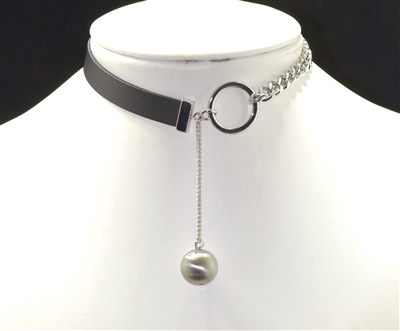 16532 LEATHER SPHERE CHAIN CHOKER