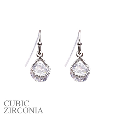 24569CR SILVER CUBIC ZIRCONIA POST EARRINGS
