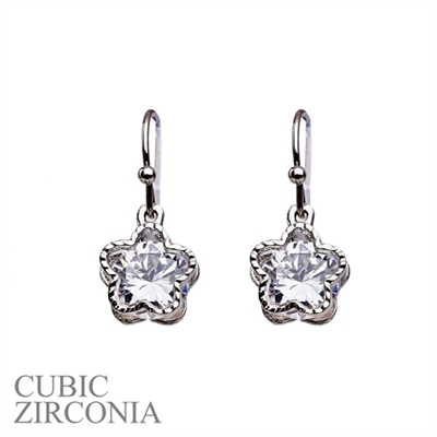 "24571CR SILVER SMALL ZIRCONIA ""FLOWER"" POST EARRING"