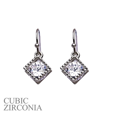 24573CR SILVER CUBIC ZIRCONIA DIAMOND POST EARRINGS