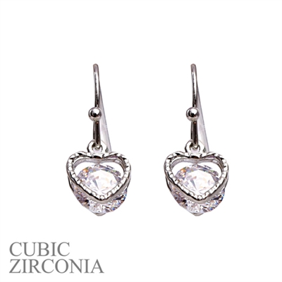 24575CR SILVER CUBIC ZIRCONIA HEART POST EARRINGS