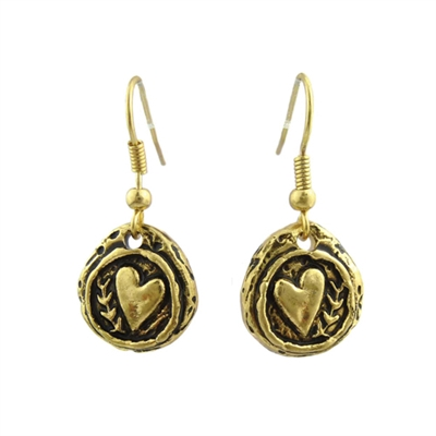 25171V HAMMERED HEART EARRINGS