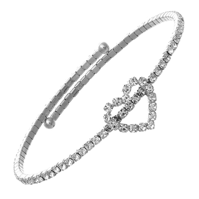 83136CR CRYSTAL MEMORY WIRE OPEN HEART BRACELET