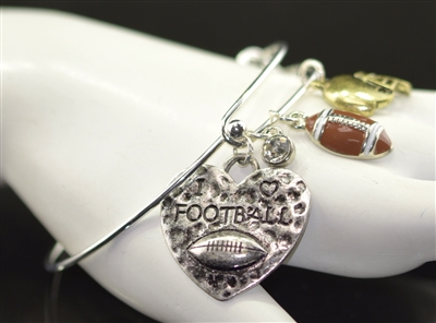 83517CR HEART HAMMERED FOOTBALL CHARM BRACELET