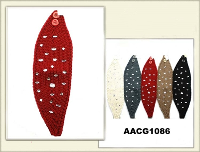AACG1086 Head Band Knit W/BD Stud