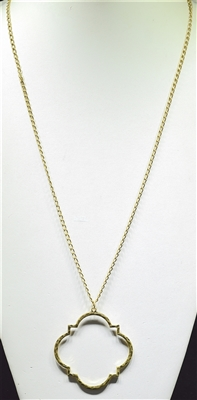 "ADN0262 36"" HAMMERED QUATREFOIL NECKLACE"