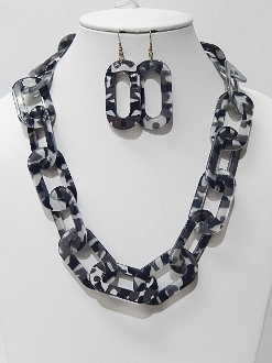 HNY174 BLK CAMO CHAIN NECKLACE SET