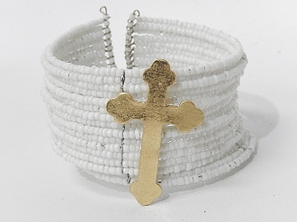 IB-9017 BEADED CUFF CROSS BRCLT