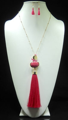 JCNE1963 BEADED TASSEL NECKLACE AND EARRING SET