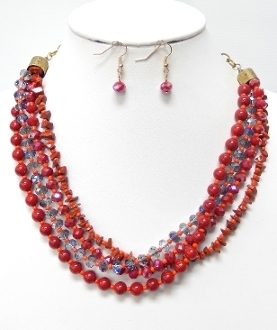 NK0038 Beads/Stones Necklace Earrings Set