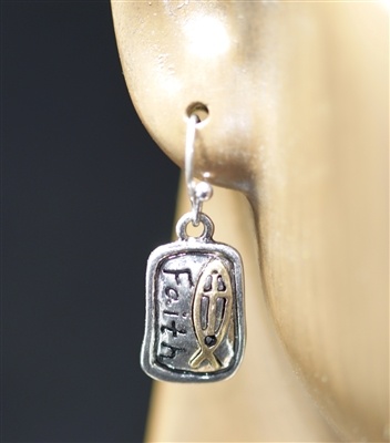 "QE-3167 SMALL HAMMERED ""FAITH"" EARRINGS"