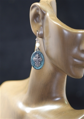 QE-3537 ANTIQUE CROSS EARRINGS