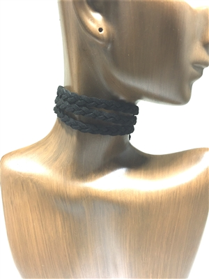 QN203  3rounds Leather  choker set