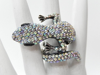 R1216 RHINESTONE LIZARD STRETCH RING