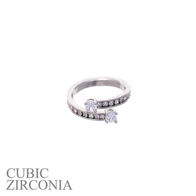 R1384CR SPIRAL SINGLE WRAP CUBIC ZIRCONIA RING