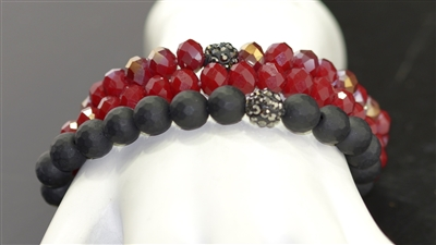 YB212RD BEADED STRETCH BRACELET TRIO