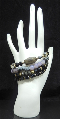 YB217 BEADED STRETCH BRACELET SET OF FOUR