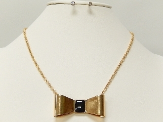 ZNE30047 METAL BOW NECKLACE SET