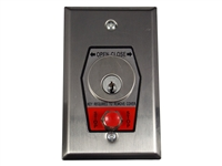 Nema 1 Interior Open-Close Key Switch With Stop Button In Single Gang Back Box Flush Mount