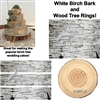 Birch Bark Wood Tree Rings Edible Cake Topper Birch Cake Strips Ring Toppers