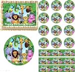 JUNGLE SAFARI ANIMALS Edible Cake Topper Image Cupcakes Cookies First Birthday