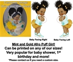 Ruffle Pants Mint Gold Dark Skin Afro Princess Baby Edible Cake Topper Image Baby Shower 1st Birthday