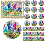 Cupcakes and Rainbows TROLLS Edible Cake Topper Image Cupcakes Cake Decoration Party Topper Frosting